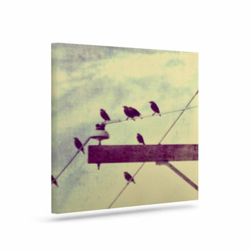 "Sylvia Coomes ""Vintage Birds On A Wire 2 "" Yellow Digital Canvas Art"