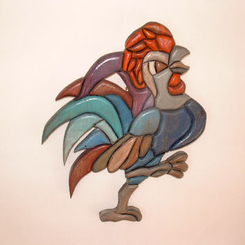 Kitchen rooster, Wall decor, wood sculpture