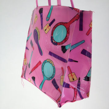 90's Jelly PVC Cosmetic Print Vintage Tote by FeelingVagueVintage