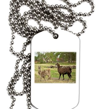 Standing Llamas Adult Dog Tag Chain Necklace by TooLoud