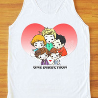 Cartoon One Direction Shirt Teen Pop Shirt Pop Rock Tank Top Women Top Unisex Shirt Vest Sleeveless Singlet Women Shirt White Shirt S,M,L