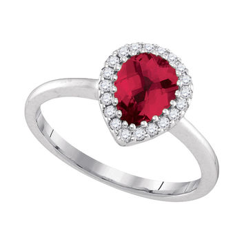 14kt White Gold Womens Pear Natural Ruby Solitaire Diamond Halo Bridal Ring 1/6 Cttw 94708