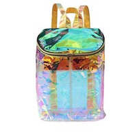 Clear Backpacks popular Women Clear Transparent Hologram Holographic Envelope Backpack for Girl School Bag Satchel Mochila Feminina Mujer Waterproof AT_62_4