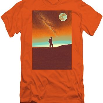 The Milky Way, The Blood Moon And The Explorer Poster By Adam Asar 4 - Men's T-Shirt (Athletic Fit)