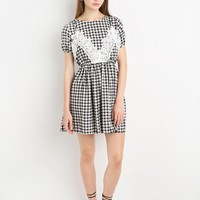 Gingham Lace Tank Fit and Flare Dress