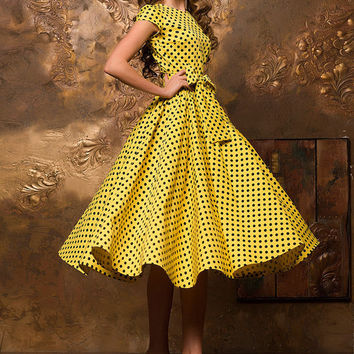 casual summer dresses, polka dot MIDI dress, Yellow 60th dress, Short sleeve dress, retro dress, sun dress, vintage dress, Cotton dress