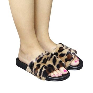 Womens Ladies Sliders Leopard Fluffy Faux Fur Flat Slipper Flip Flop Sandal