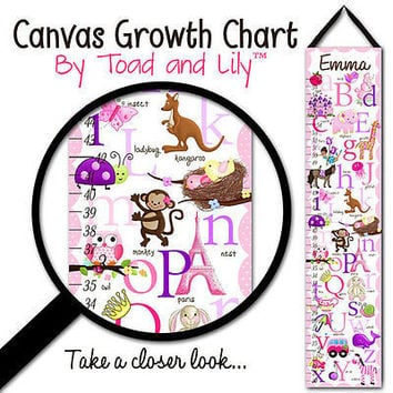 Kid's GROWTH CHART Personalized A to Z Alphabet Animal Girl Canvas Growth GC0010