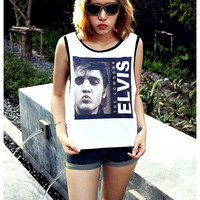 Elvis Presley Shirt Girl Sexy Summer Sideboob Women Tank Tops Size S, M, L