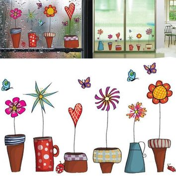 PEAPGB2 Cute Cartoon Flower Butterfly wall Stickers DIY Decal Window glass Wall decor Home Decoration kids children room decor