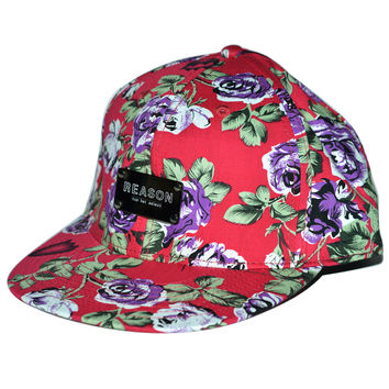 Reason Clothing   | Accessories & Hats    | Reason Gunmetal Patch Cap - Red Floral