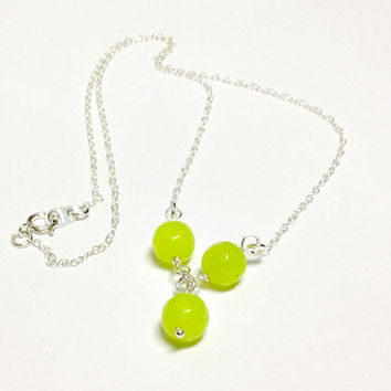 Lime Green Necklace Jade Necklace Sterling Silver Chain Jewelry Gemstone Jewellery Gift Unique Handcrafted Neon Fluorescent Pendant Dangle