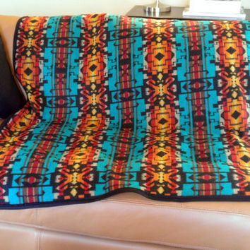 Pendleton picnic blanket,  tribal meets bright, glamour camping, dorm decor, elegant dog blanket, turqouise, black, mustard, 65 x 45