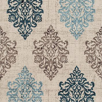 3806 Ivory Blue Damask Distressed Area Rugs
