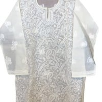 Womens Tunic Top Ivory Floral Hand Embroidered Summer Blouse Bikini Cover Up Large