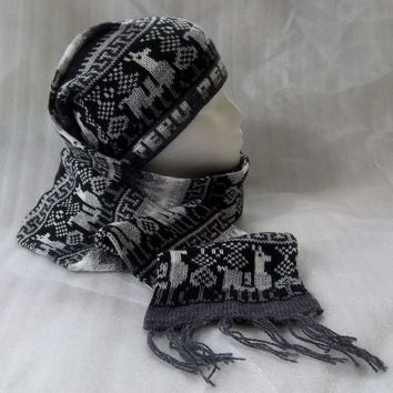 Peruvian Hat (Chullo) and Scarf One Piece Alpaca and Sheep Wool (GRAY TONES)