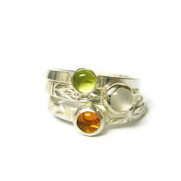 Sterling silver stacking gemstone rings gemstone by WatchMeWorld