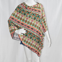 Pastel Tribal Poncho/ Nursing Cover/ Lightweight Shawl/ Off the Shoulder, One Shoulder Top/ Boho Clothing/ New Mom Gift