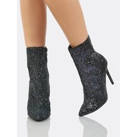 Glitter Ankle High Boots BLUE