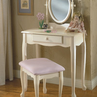 Powell White Vanity, Mirror & Bench Set - Off White