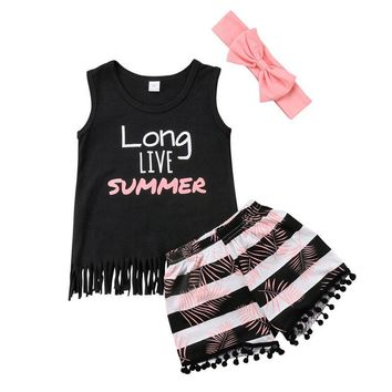 Baby Girl Summer Top +Short Pants headband 3pcs Outfit Set Clothes 3pcs Set