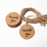 Fonder Mols Thank You Wedding Brown Kraft Paper Tag Bonbonniere Favor Gift Tags with Jute Twines Perfect Best Wedding Birthday Party Baby Shower Favor (flower round)