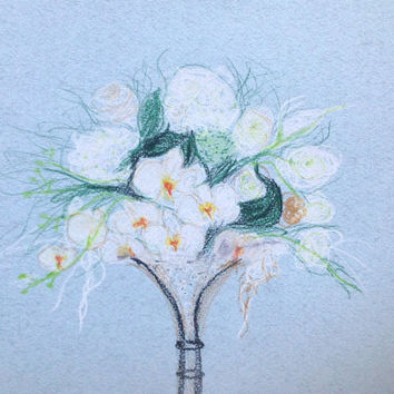 Custom Wedding pastel bouquet drawing, colored pencils, white orchids wedding bouquet, custom bouquet sketch  8 x 12''