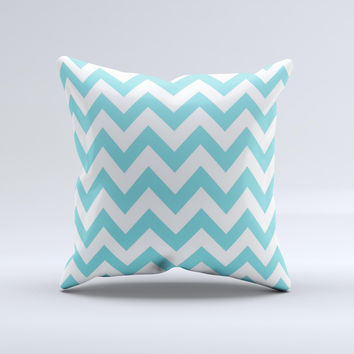 Subtle Blue & White Chevron Pattern Ink-Fuzed Decorative Throw Pillow