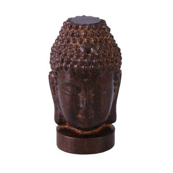 Wooden Religious Sakyamuni Buddha Head Figurine Statue Serenity Collection