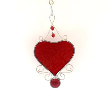 Stained Glass Heart Suncatcher - Window Hanging - Heart Ornament - Red - Handmade