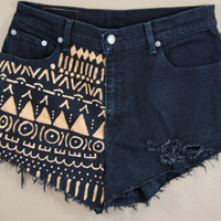bleached denim / tribal printed shorts / hand painted shorts / short shorts / distressed shorts medium / large m/l