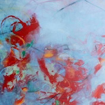 "Large Acrylic Painting Abstract Painting Expressionist Red ""Ongoing Conversation"""