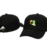 Kermit The Frog Drinking Iced Tea Meme Black Strapback Baseball Cap Fitted Trucker Hat
