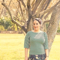 Green shirt with geometric print – Modest top for women - Shirt with sleeves