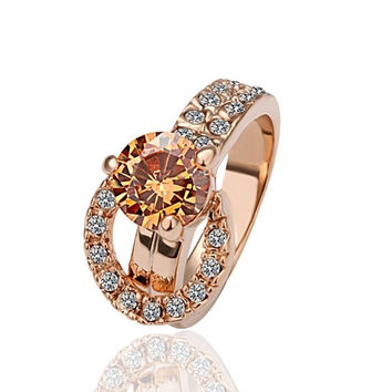 Unique Design Crystal Inlaid Rhinestone Pave Rose Gold Engagement Ring (Size: 8, Color: Rose gold) = 1841734212