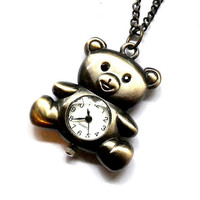 1 piece teddy bear pocket watch necklace - P6