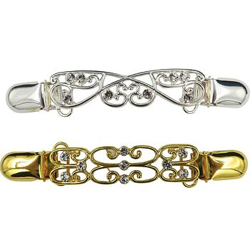 Evelots Diamante Cardigan Clip, Gold and Silver Toned, Set of 2