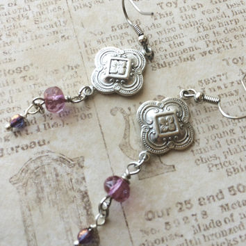Pierced dangle earrings Amethyst purple Czech beads etched silver colored medallion stainless earwire