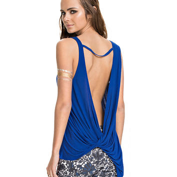 Blue Ruched Backless Tank Top