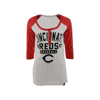Cincinnati Reds MLB Women's Opening Night Stripe Henley T-Shirt
