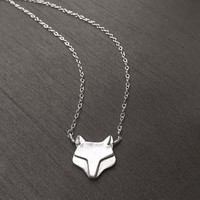 """Silver Fox Pendant, Fine Silver (.999%), Sterling Silver, 17"""" Chain Necklace, Modern Style, Spirit Animal, Handmade Jewelry, Gifts for Women"""