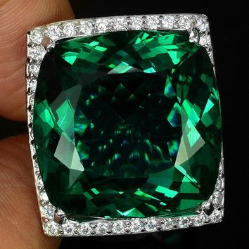A Vintage 14K White Gold Genuine 42CT Cushion Cut Emerald Green Sea Apatite and White Diamond Ring