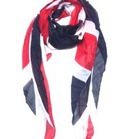A lightweight scarf featuring the British flag.