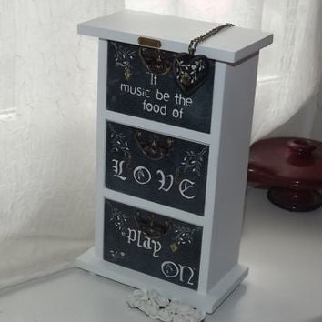 Shabby Chic 3 Drawer cabinet. If Music Be The Food of Love. UNIQUELY hand decorated GiFT Set. FREE matching pendant. Can be PERSONALISED.