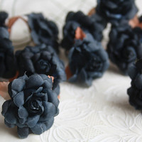 12pcs large black rose flower fake flower articial craft accessory diy materials goth decoration artificial fake fabric silk flower