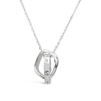 Sterling Silver Love Knot Necklace Pendant - Silver Love Knot Pendant - Love Knot Jewelry - Love Necklace - 18K White Gold Plated Jewelry