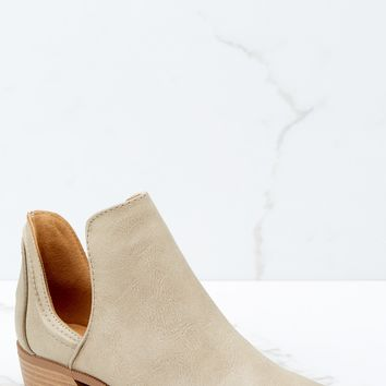 Came And Conquered Taupe Ankle Booties