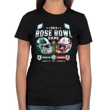 Michigan State Spartans vs. Stanford Cardinal 2014 Rose Bowl Ladies Showtime Dueling T-Shirt - Black