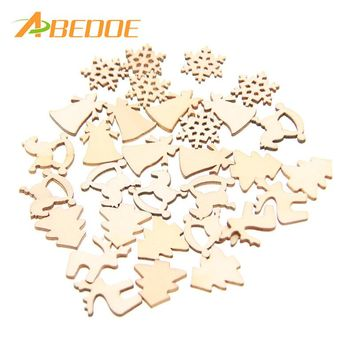 ABEDOE 30pcs/lot 5 Patterns Designs Natural Wood Christmas Ornaments Reindeer Tree Snow Flakes Rocking Horse Bell for Xmas Decor