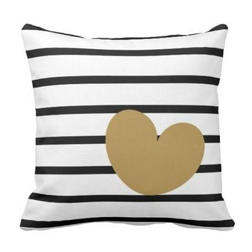 Black & White Stripes with Gold Heart Pillows